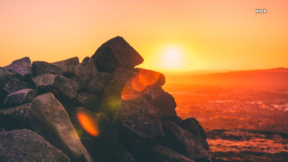 Black Rocks In Colorful Sunset Hd Picture