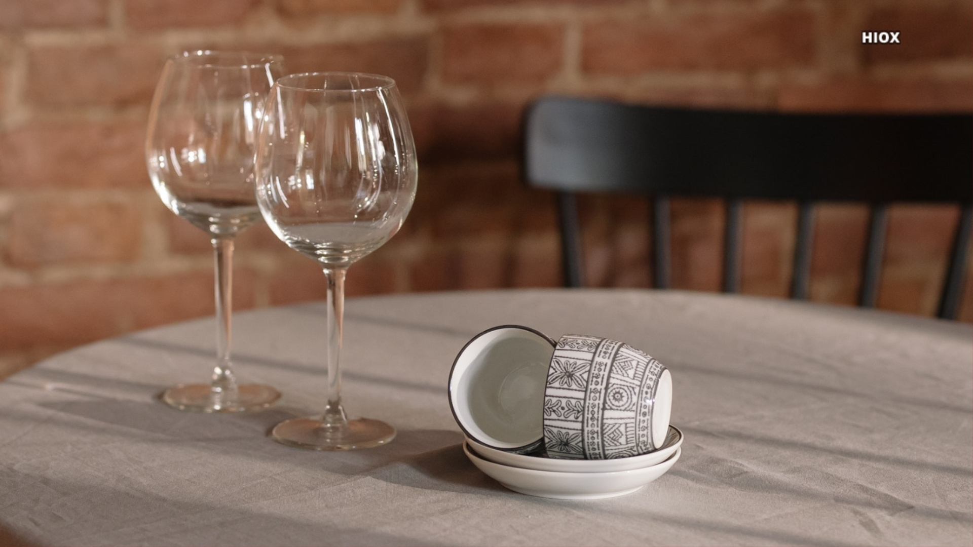 Empty Wine Glasses And Tea Cups On Restaurant Table Hd Wallpaper