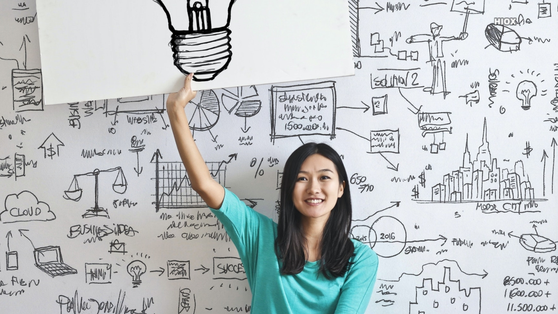 Girl With Idea Board Sign Hd Picture