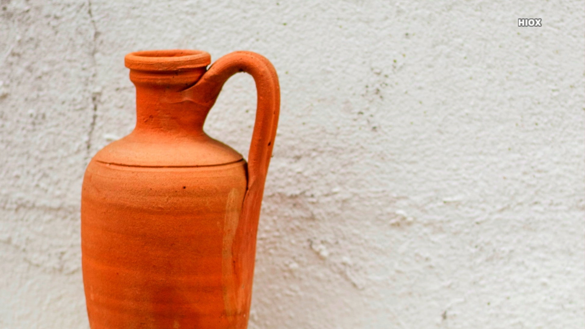 Clay Vase On White Concrete Background Hd Image