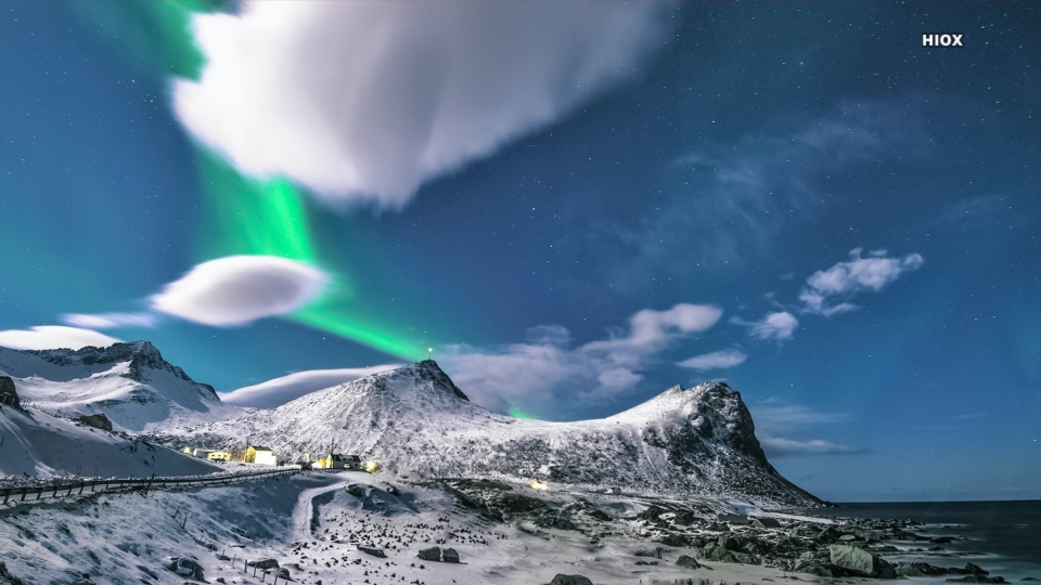 Hd Wallpaper Of Snow Covered Mountain With White And Green Clouds