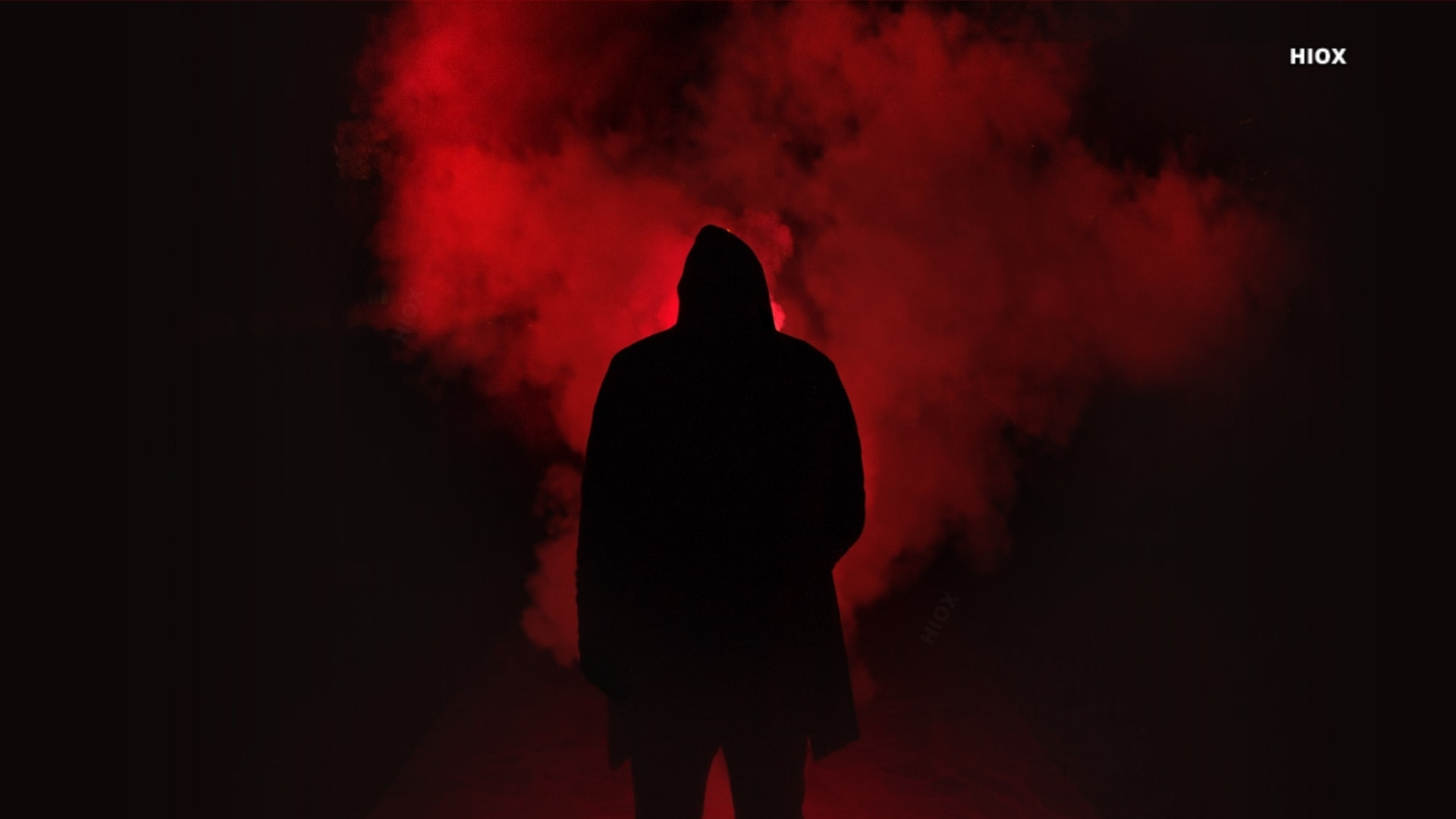 Silhouette Of A Man In Red Smoke Hd Image