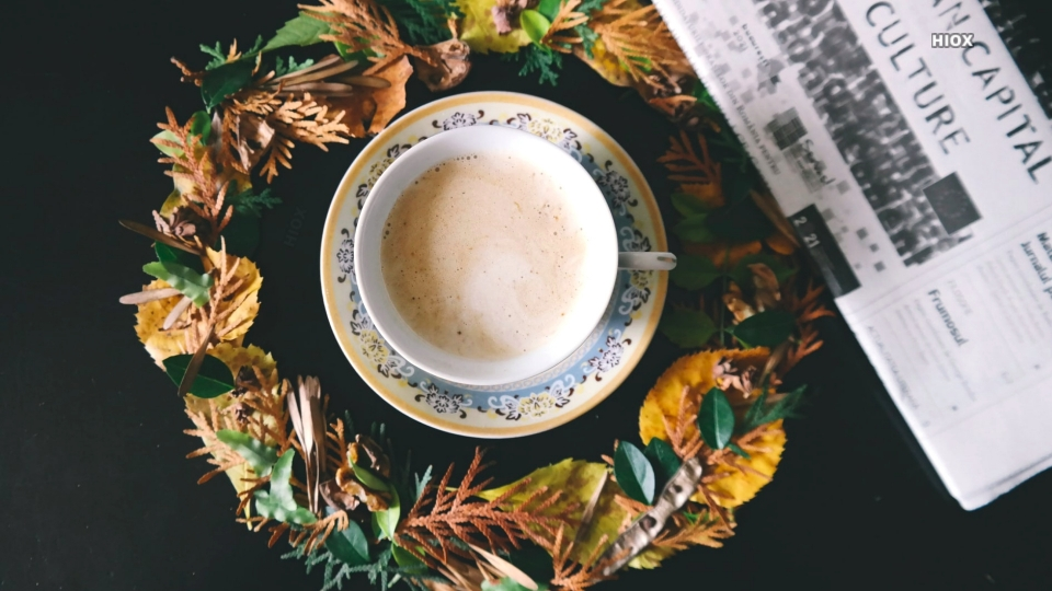 Tea In The Middle Of Fall Leaves Hd Picture