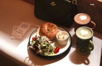 Creamcheese Bagel And Cappuccino Hd Image
