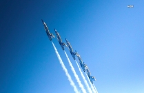 Picture Of Five Jet Flying In Blue Sky