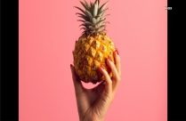 Hand Holding Pineapple Fruit In Pink Background Hd Wallpaper