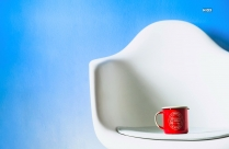 HD Photo Of Red Ceramic Mug In White Chair