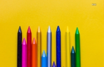 Oil Crayons On Yellow Background Hd Wallpaper