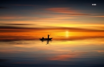 Silhouette Photo Of People On Rowboat During Sunset